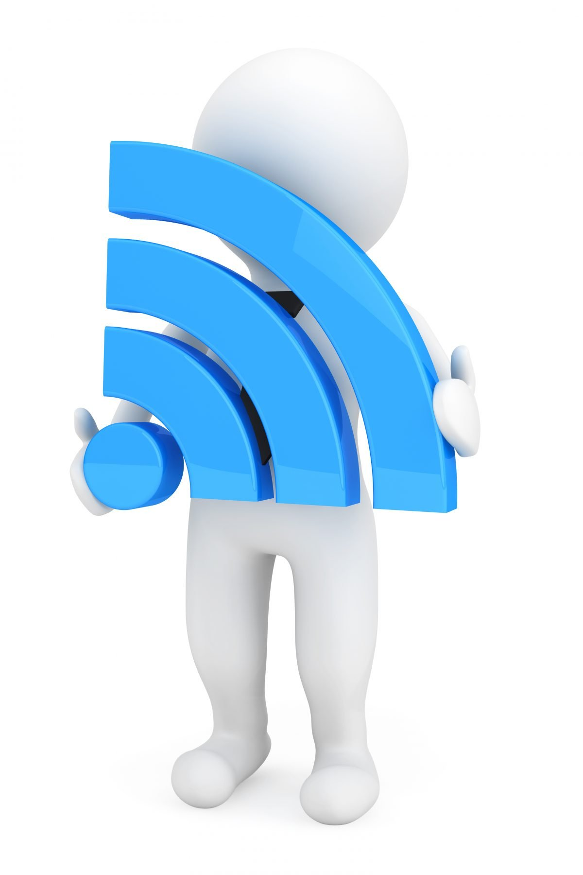 3d Person with Wi-Fi Sign
